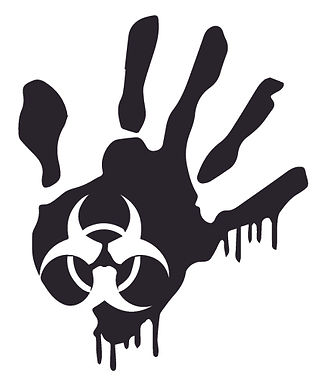 Biohazard Bloody Hand Print Zombie Decal Sticker