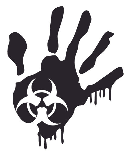 Biohazard Bloody Hand Print Zombie Decal Sticker