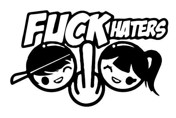 FUCK Haters MIDDLE FINGER by Couple Decal Sticker