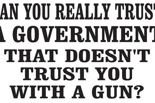 Can you really trust a government that doesn't trust you with a gun? Decal