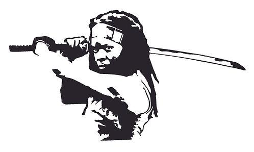 Machonne striking a pose Walking Dead Decal Sticker