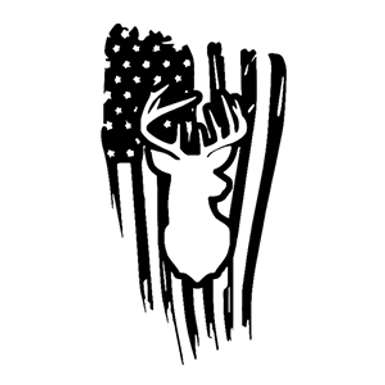 Deer Hunter American USA Flag Hunting Decal Sticker