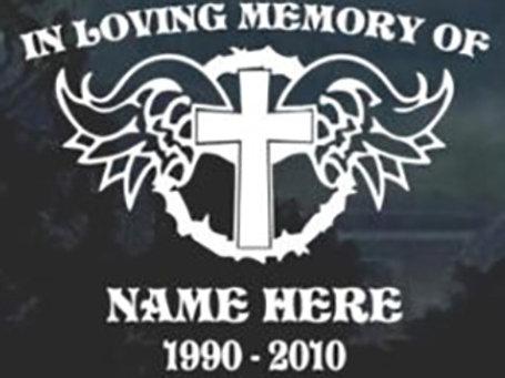 Cross wings in loving memory of Decal Sticker