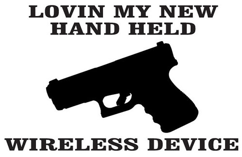 Loving my new handheld device gun Decal Sticker