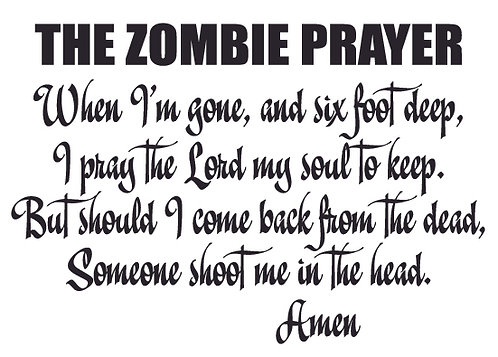 The Zombie Prayer Decal Sticker