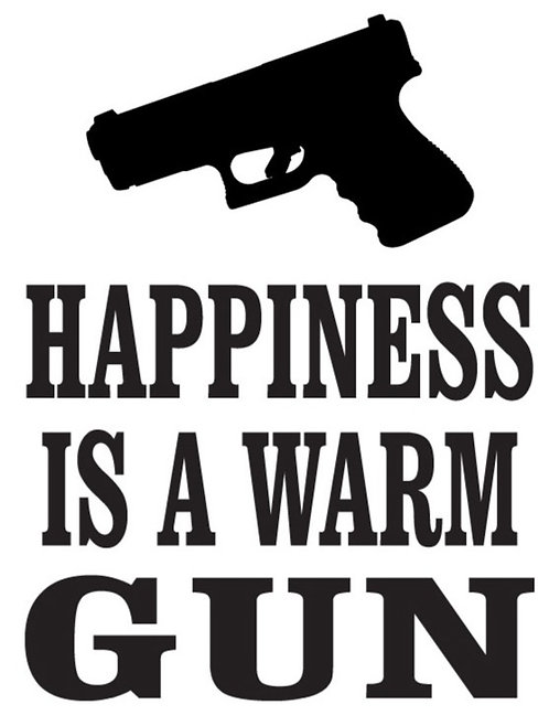 HAPPINESS IS a Warm Gun Decal Sticker