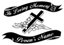 IN MEMORY OF beautiful flowered cross and ribbons Decal Sticker