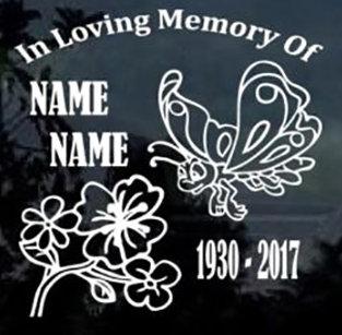 In loving memory of butterfly flower Decal Sticker