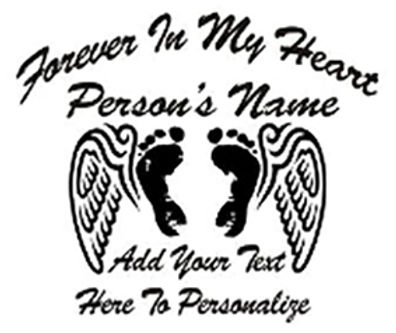 FOREVER IN MY HEART Baby feet wings Decal Sticker