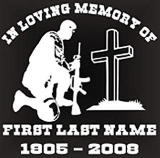 In loving memory of kneeling at cross military Decal Sticker