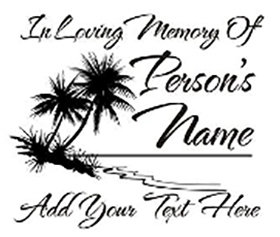 In loving memory of palm tree and beach Decal Sticker