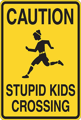 CAUTION Stupid kids crossing Funny Sign