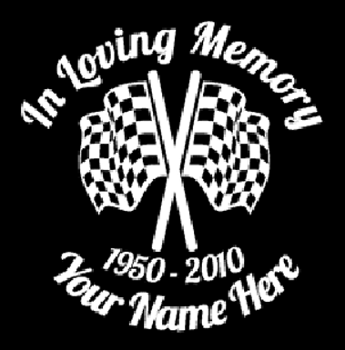 Racing in memory of checkered flag last race Decal Sticker