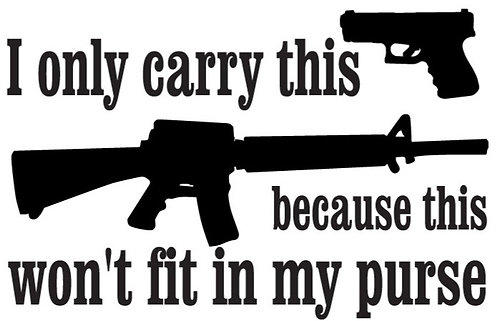 I carry small because AK won't fit in purse Gun Decal Sticker