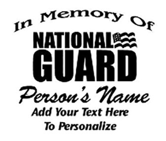 IN MEMORY OF National Guard Military Decal Sticker