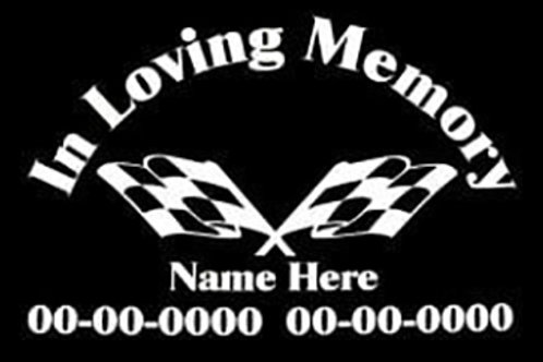 In memory of racing checkered flags Decal Sticker