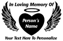 IN LOVING MEMORY OF heart with wings Decal Sticker