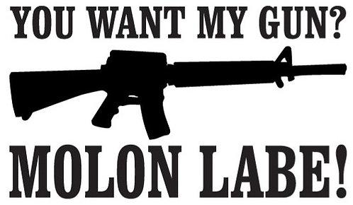 IF YOU WANT MY GUN - Molon Labe Gun Decal Sticker