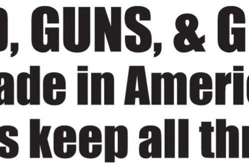 GOD GUNS AND GUTS Gun Decal Sticker
