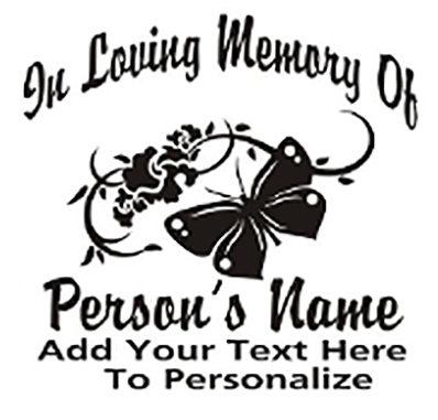IN LOVING MEMORY OF butterfly kissing flower Decal Sticker