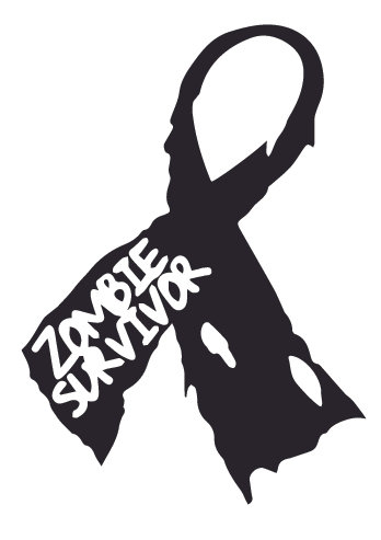 Zombie Surviver Ribbon Decal Sticker