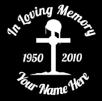 In loving memory fallen soldier cross Decal Sticker