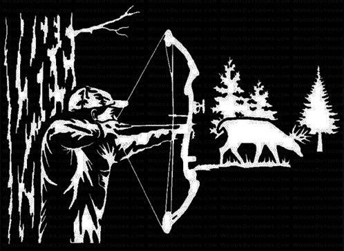 BOWHUNTER Tree Stand Shot Hunting Decal Sticker