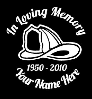 In loving memory of fireman hat Decal Sticker