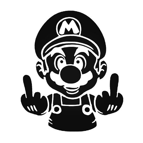Mario FUCK YOU Middle Finger 2 Decal Sticker