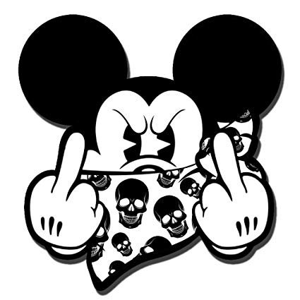 Mickey Mouse Bandana FUCK YOU Decal Sticker
