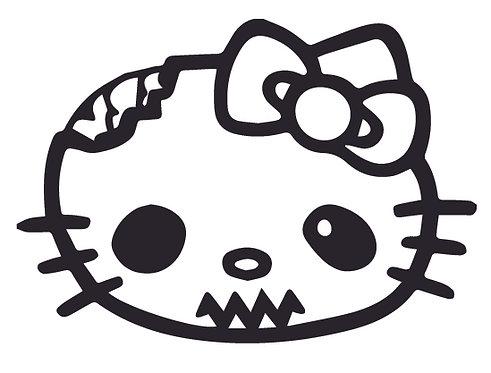 HELLO KITTY eaten zombie brain Decal Sticker