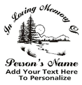 IN LOVING MEMORY OF mountain cabin scene Decal Sticker
