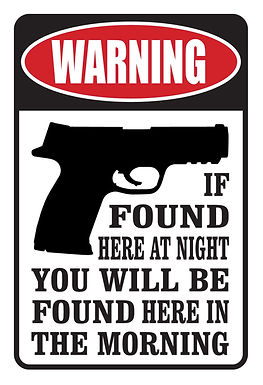 WARNING If found here at night Gun Decal Sticker