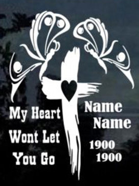 My heart won't let you go cross butterfly Decal Sticker