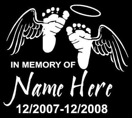 Baby footprint wings in memory of Decal Sticker