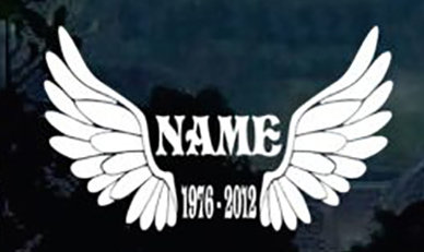 Wings in memory of with dates Decal Sticker
