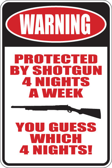 WARNING Protected 4 Nights a Week YOU GUESS WHICH NIGHTS Funny Sign