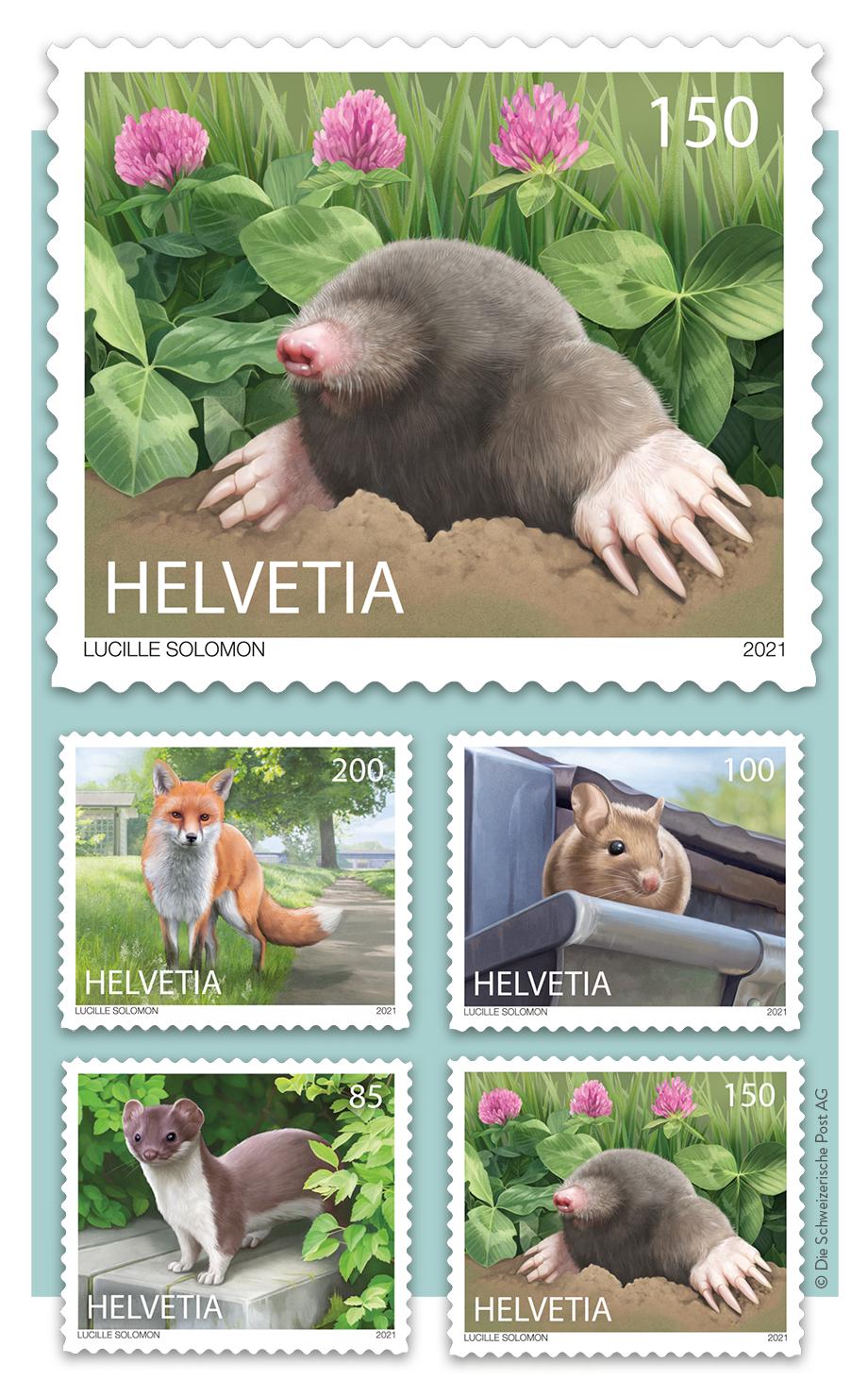 Illustrierte Briefmarken: Tiere in der Stadt