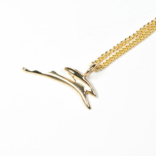 9ct Solid Gold Leaping Hare Necklace and Studs Set