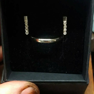 Remodelled Gold Wedding Ring and Diamond Earrings