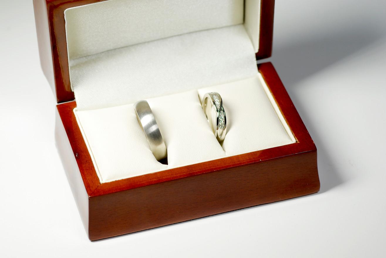 Bespoke Wedding Rings Presented in Mahogany Box