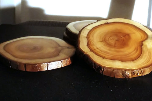 Natural Yew Coasters Set of 4