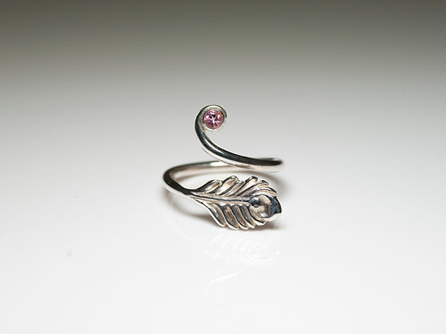 Peacock feather ring with pink tourmaline