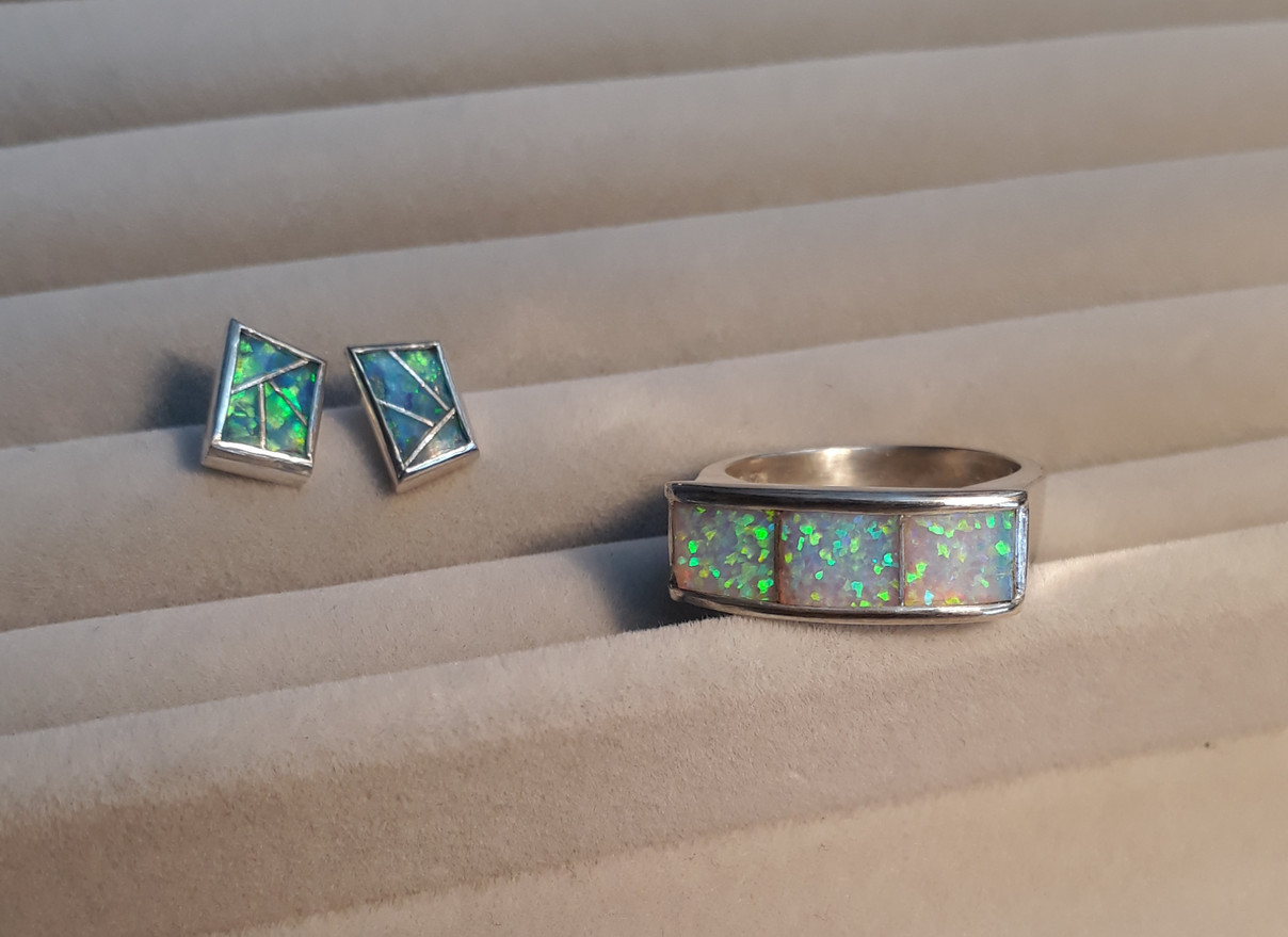 Opal ring and studs