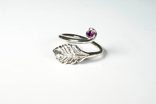 Peacock Feather Ring with Rhodolite Garnet