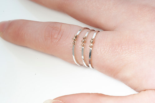 Stackable Rings: Silver with gold detail