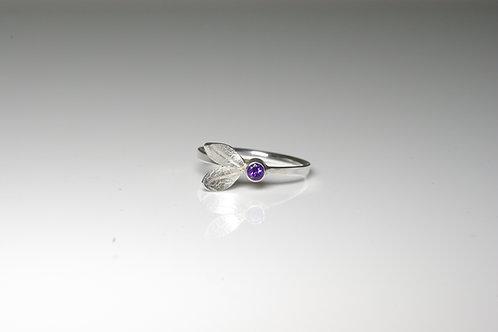 Leaf Ring with Gemstone