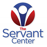 Red, White and blue circular logo with The in red and Servant Center in blue below it.