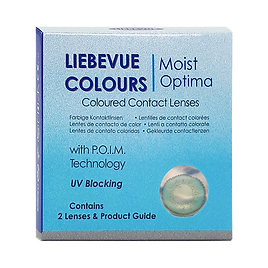 Eine Packung LIEBEVUE® Colours mit der farbigen Kontaktlinse Luxus Series Aqua.