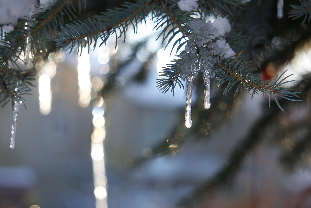 Sparkling bokeh icicles celebrating the magic of winter